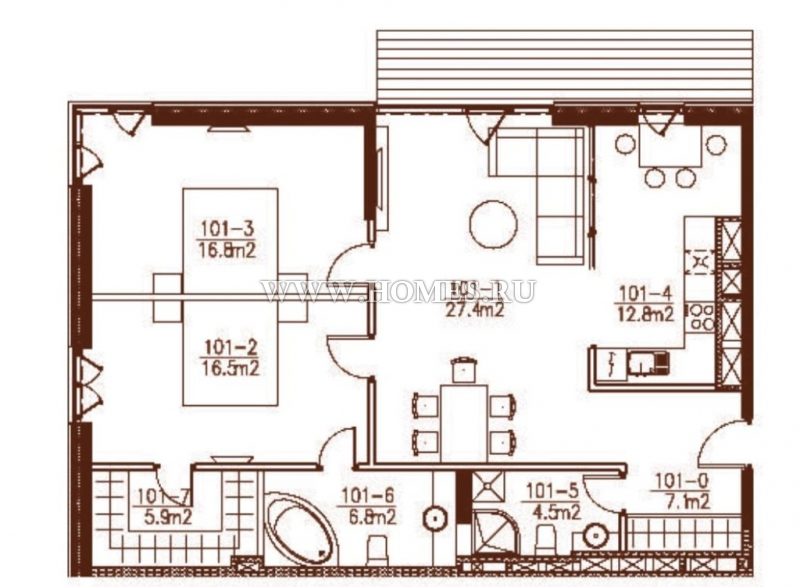 Просторная квартира с террасой в Юрмале
